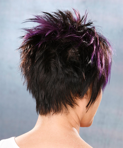 Short Straight   Black Plum    Hairstyle   with Purple Highlights - Side View