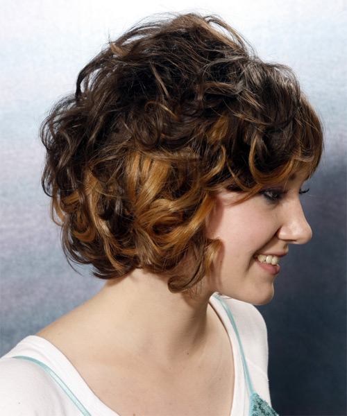 Medium Curly Formal   Hairstyle   - Dark Brunette (Mocha) - Side View