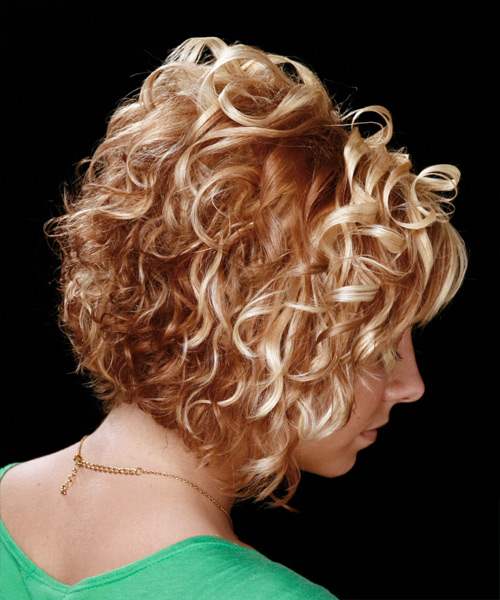 Medium Curly Formal    Hairstyle with Side Swept Bangs  -  Copper Blonde Hair Color - Side View
