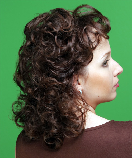 Medium Curly   Chocolate   Hairstyle   - Side View