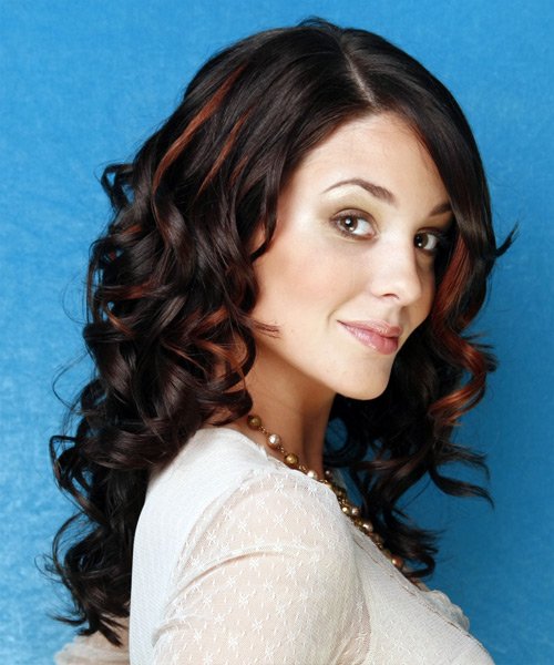 Long Curly   Black    Hairstyle   with  Red Highlights - Side View