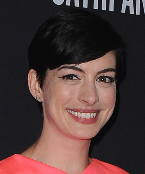 Anne Hathaway Short Straight Formal   Hairstyle with Side Swept Bangs  - Black - Side View
