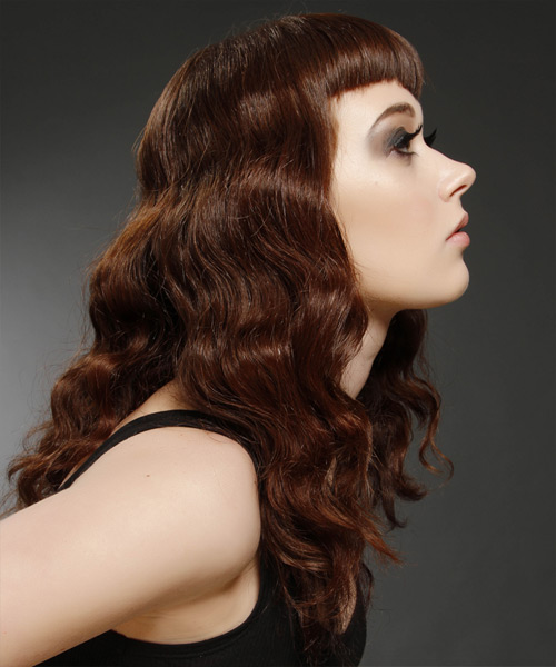 Long Wavy Alternative   Hairstyle with Layered Bangs  - Medium Brunette (Chocolate) - Side View