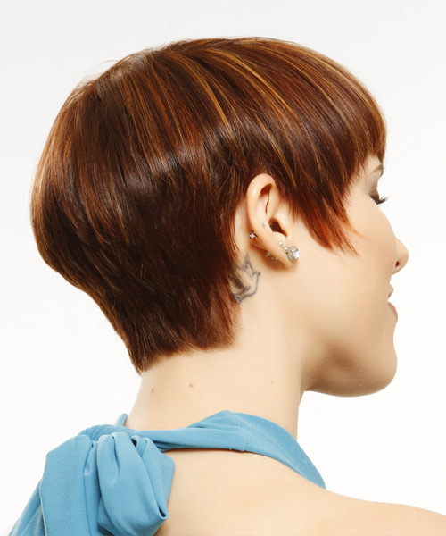Short Straight    Mahogany Red   Hairstyle with Layered Bangs  and  Blonde Highlights - Side View