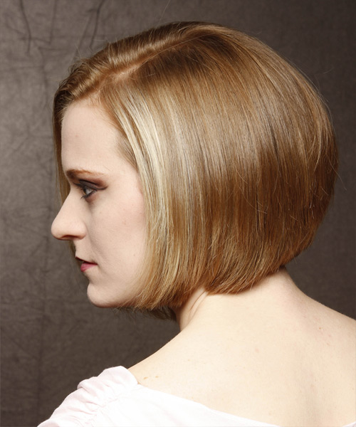Medium Straight    Golden Blonde Emo  Hairstyle   with Light Blonde Highlights - Side View