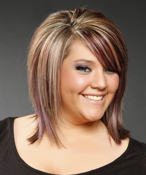 Medium Straight Formal    Hairstyle with Side Swept Bangs  -  Caramel Brunette Hair Color with Purple Highlights - Side View
