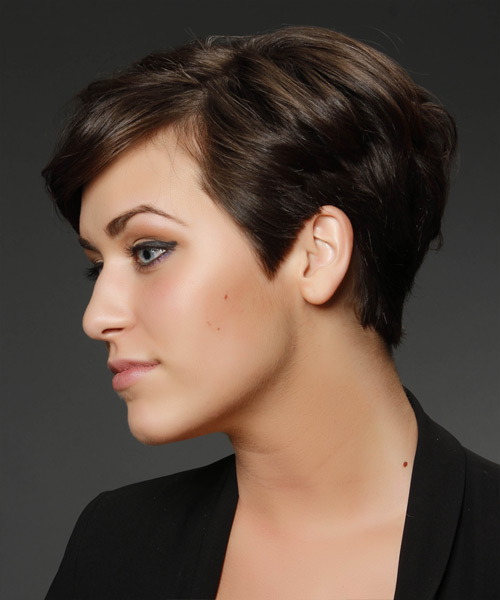 Short Straight   Chocolate Asymmetrical  Hairstyle   - Side View