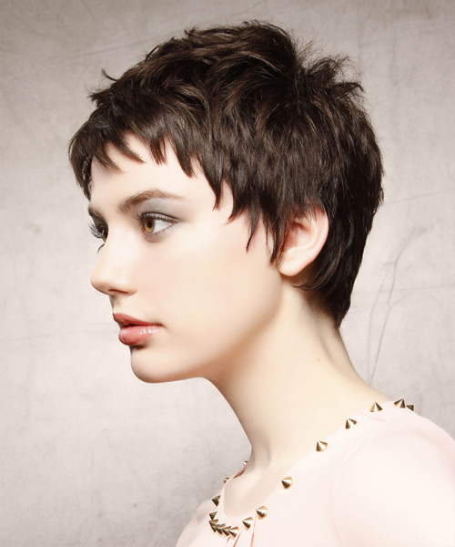Short Straight   Dark Mocha Brunette   Hairstyle with Layered Bangs  - Side View