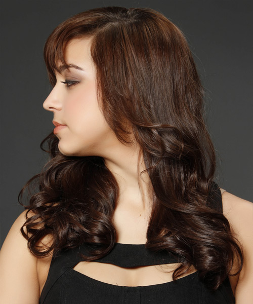 Long Wavy Formal    Hairstyle with Layered Bangs  - Medium Chocolate Brunette Hair Color - Side View