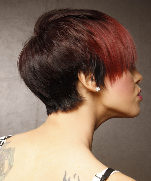Short Straight Alternative  Emo  Hairstyle with Layered Bangs  - Black  and  Red Two-Tone Hair Color - Side View