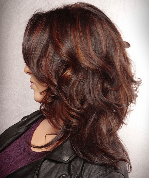 Long Wavy   Dark Burgundy Red   Hairstyle   with  Red Highlights - Side View