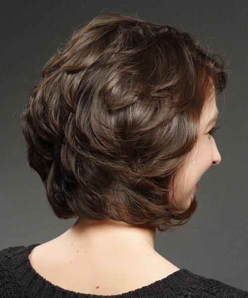 Short Straight Casual Hairstyle - Dark Brunette - Side View