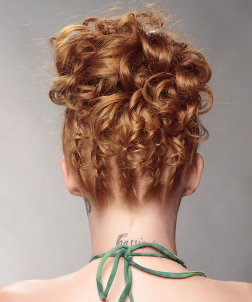 Long Curly Formal   Updo Hairstyle   - Light Ginger Red Hair Color - Side View