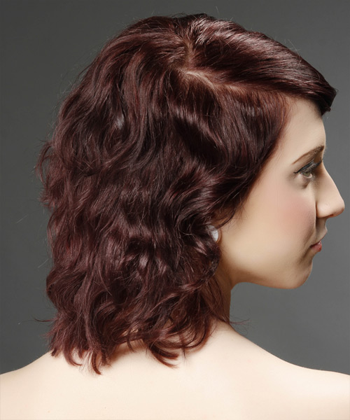 Medium Wavy Casual    Hairstyle with Side Swept Bangs  - Dark Burgundy Red Hair Color - Side View