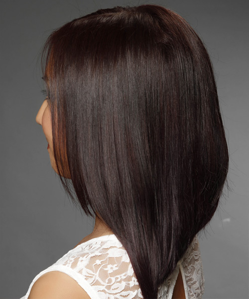 Medium Straight Dark Brunette Hairstyle