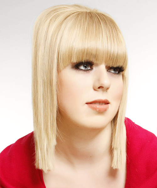 Medium Straight Formal   Hairstyle with Blunt Cut Bangs  - Light Blonde - Side View