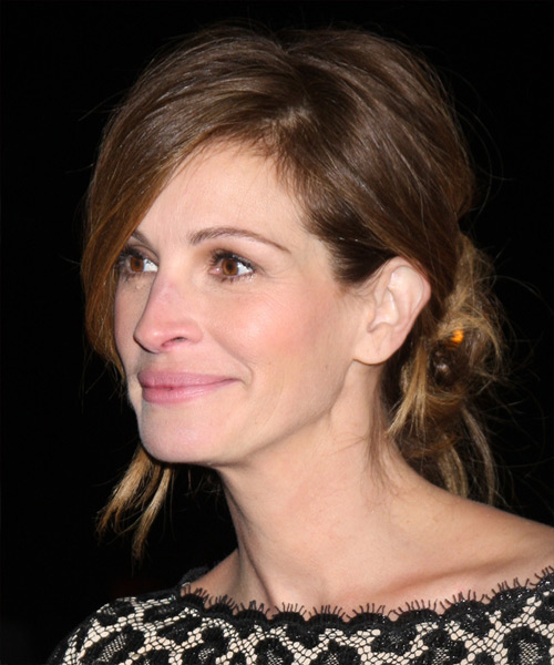 Julia Roberts Updo Long Straight Casual Wedding Updo Hairstyle   - Medium Brunette (Ash) - Side View