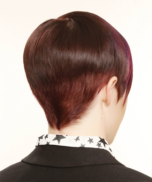 Short Straight Formal    Hairstyle   - Medium Plum Red Hair Color with Pink Highlights - Side View