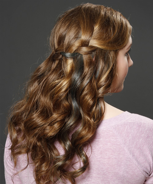 Long Curly    Caramel Brunette  Half Up Hairstyle   with  Blonde Highlights - Side View