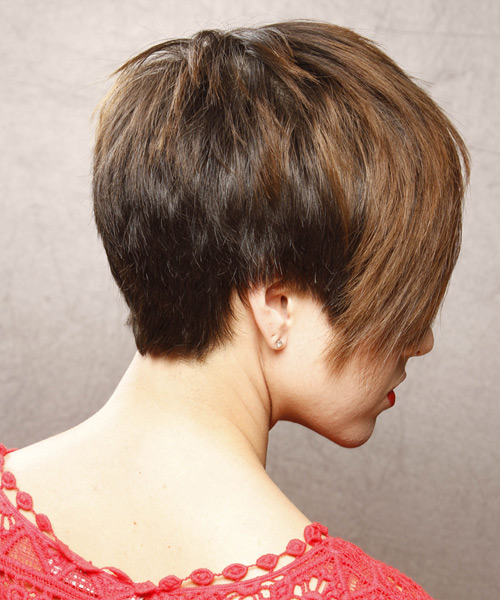 Short Straight    Chestnut Brunette   Hairstyle with Side Swept Bangs  - Side View