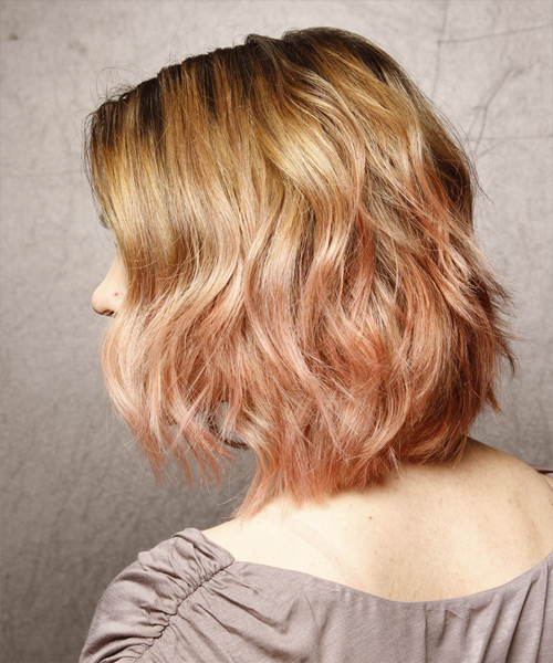 Medium Wavy Casual    Hairstyle   - Dark Strawberry Blonde Hair Color with  Blonde Highlights - Side View