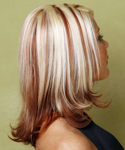 Long Straight    Red and Light Blonde Two-Tone   Hairstyle   - Side View
