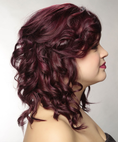 Long Curly Casual   Half Up Hairstyle   - Dark Plum Red Hair Color - Side View