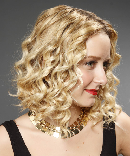 Medium Curly    Golden Blonde   Hairstyle   with Light Blonde Highlights - Side View