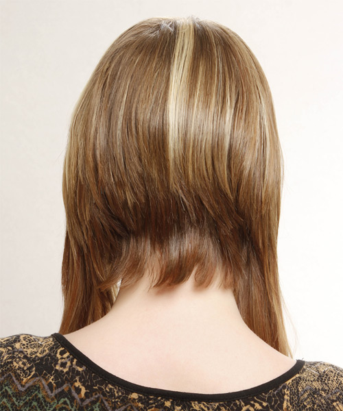 Medium Straight Alternative    Hairstyle   -  Honey Blonde Hair Color with Light Blonde Highlights - Side View