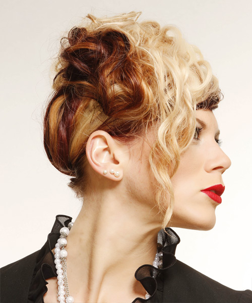 Long Curly Alternative  Emo Updo Hairstyle   -  Golden Blonde and  Brunette Two-Tone Hair Color - Side View