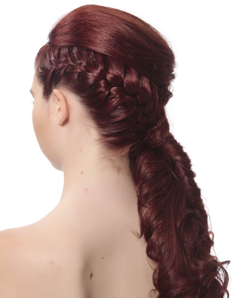 Updo Long Curly Formal  Updo Hairstyle with Side Swept Bangs  - Medium Red - Side View