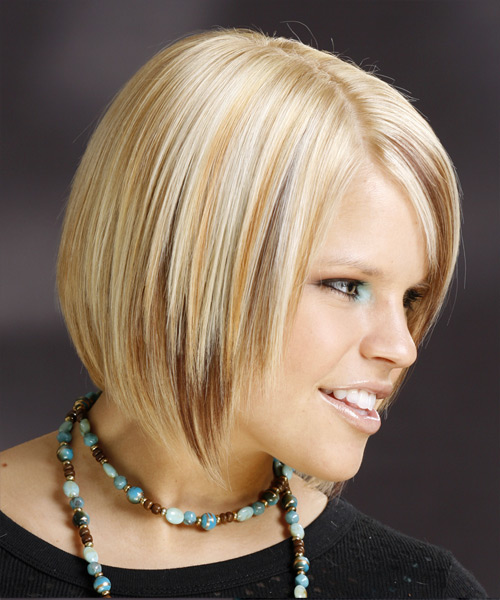 Medium Straight Formal    Hairstyle with Side Swept Bangs  - Light Golden Blonde Hair Color - Side View