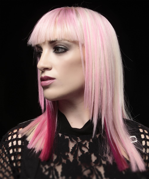Long Straight Alternative    Hairstyle with Blunt Cut Bangs  - Pink  Hair Color - Side View