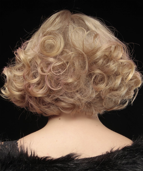 Short Curly Formal Bob  Hairstyle with Blunt Cut Bangs  - Light Blonde (Strawberry) - Side View