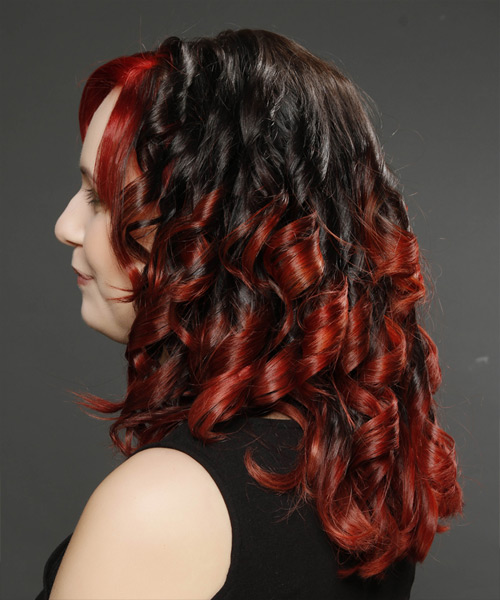 Long Curly   Dark Brunette and  Red Two-Tone   Hairstyle   - Side View