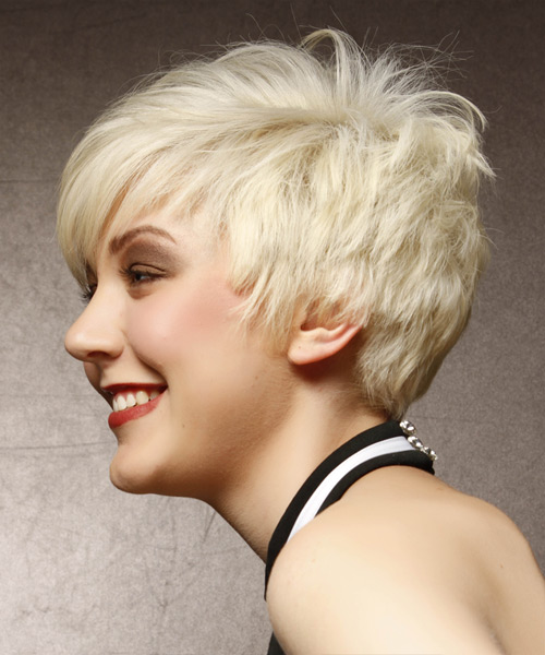 Short Straight Alternative Asymmetrical  Hairstyle with Side Swept Bangs  - Light Blonde - Side View