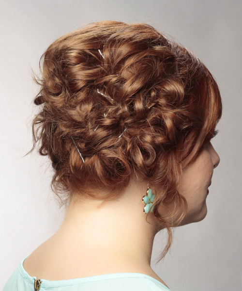 Long Curly   Light Red  Updo    with  Blonde Highlights - Side View