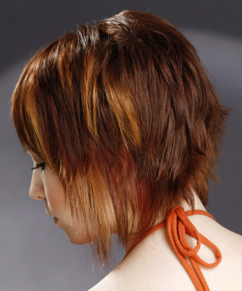 Medium Straight   Dark Mahogany Red   Hairstyle with Side Swept Bangs  and  Blonde Highlights - Side View