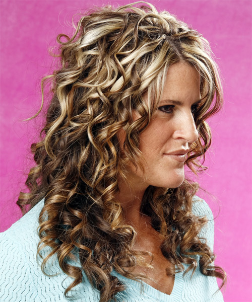 Long Curly Formal    Hairstyle   - Medium Brunette Hair Color with Light Blonde Highlights - Side View