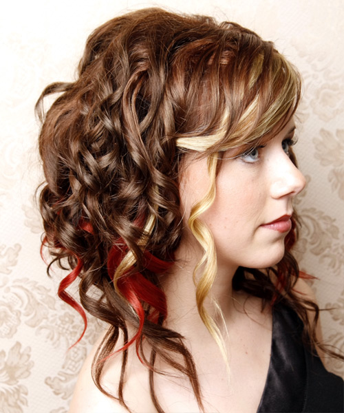 Long Curly Formal    Hairstyle with Side Swept Bangs  - Medium Chocolate Brunette Hair Color with Light Blonde Highlights - Side View