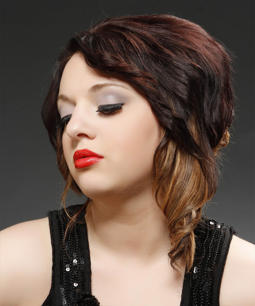 Medium Curly Formal  Asymmetrical Updo Hairstyle   - Dark Brunette Hair Color with  Blonde Highlights - Side View