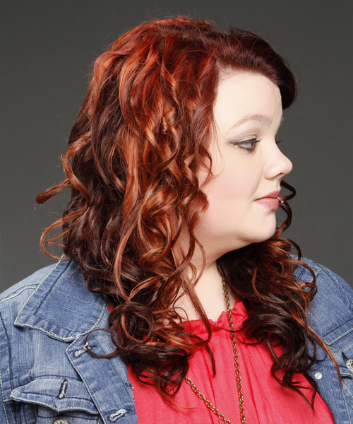Long Curly    Red   Hairstyle   with Light Red Highlights - Side View