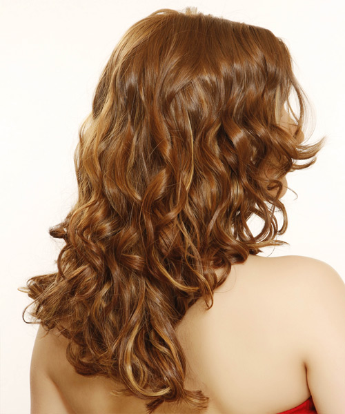 Long Wavy Formal    Hairstyle   -  Auburn Brunette Hair Color - Side View
