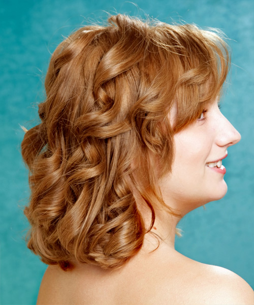Medium Wavy Formal   Hairstyle with Layered Bangs  - Light Brunette (Copper) - Side View