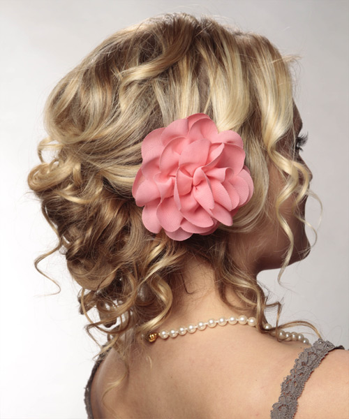 Long Curly Formal   Updo Hairstyle   - Dark Blonde Hair Color with Light Blonde Highlights - Side View