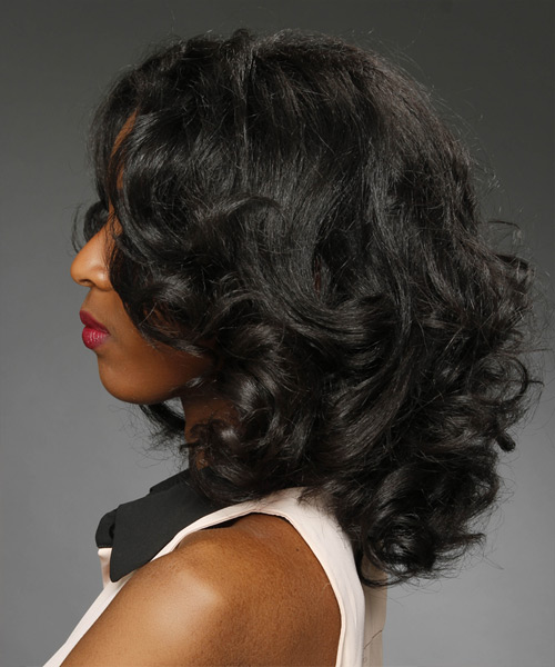 Medium Wavy Formal    Hairstyle   - Black  Hair Color - Side View