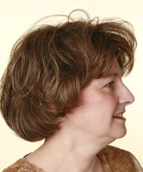 Short Wavy Casual   Hairstyle with Layered Bangs  - Medium Brunette - Side View
