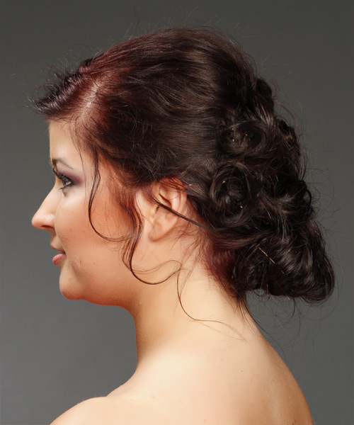 Long Curly Formal   Updo Hairstyle   - Dark Burgundy Red Hair Color - Side View