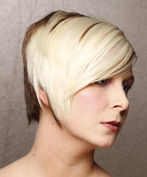 Short Straight Formal    Hairstyle   - Light Blonde and  Brunette Two-Tone Hair Color - Side View