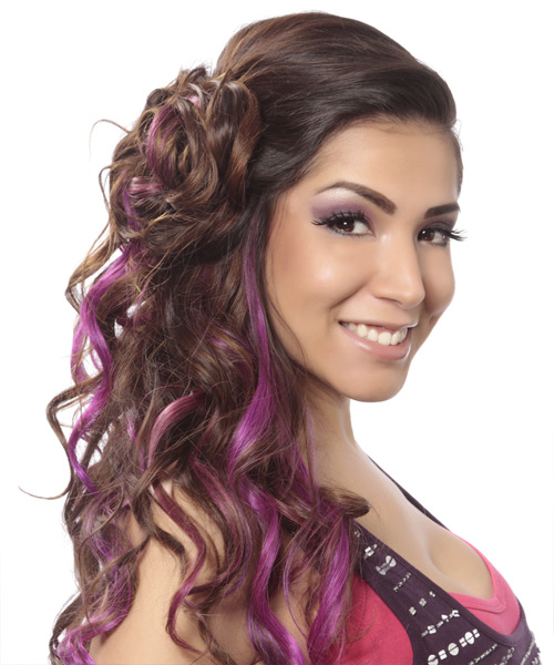 Long Curly    Brunette Asymmetrical Updo    with Purple Highlights - Side View